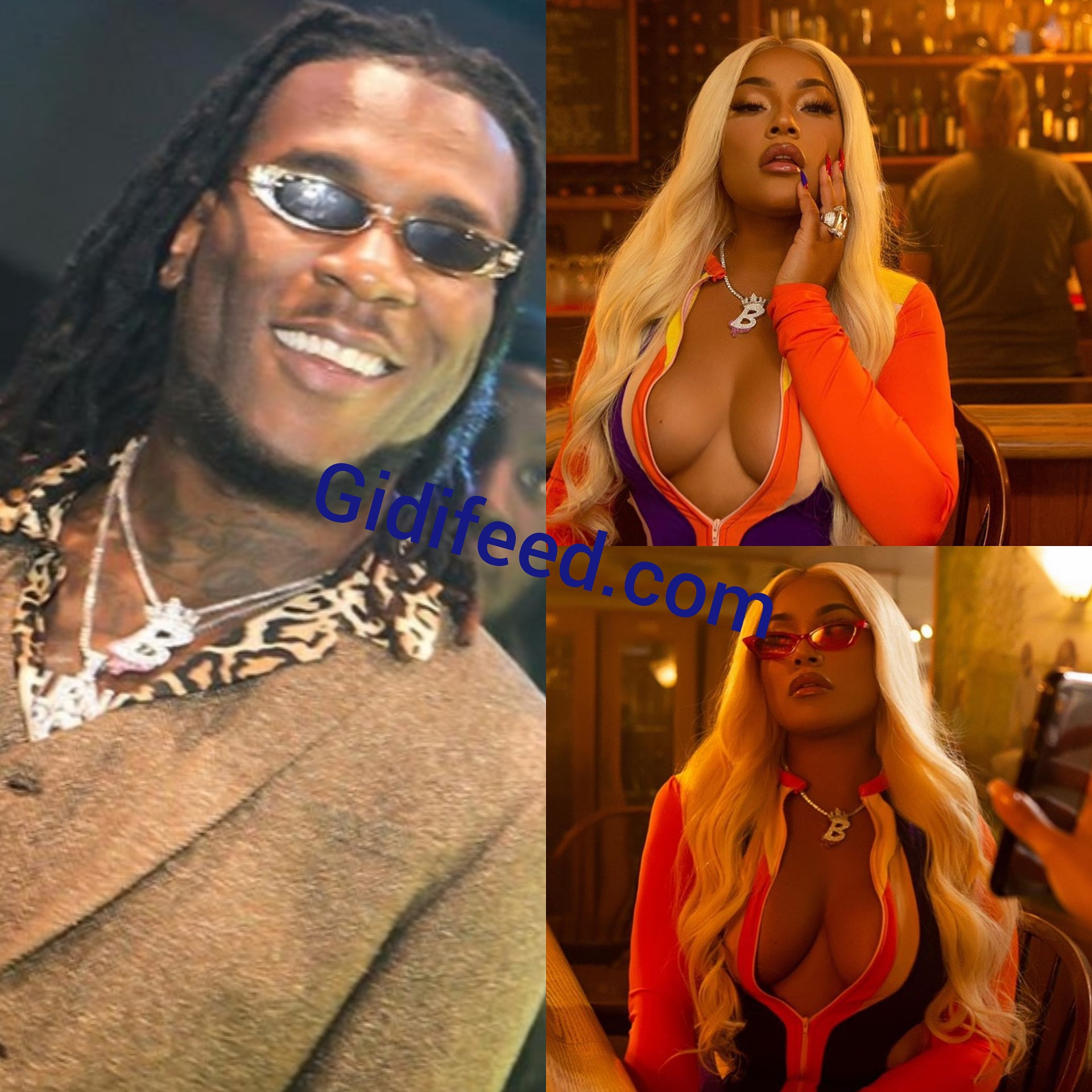Burna Boy Girlfriend SteffLondon rocks his neckpiece in a music